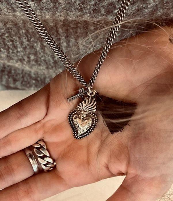 Collana Sacro Cuore oro con Crocetta e Nappina
