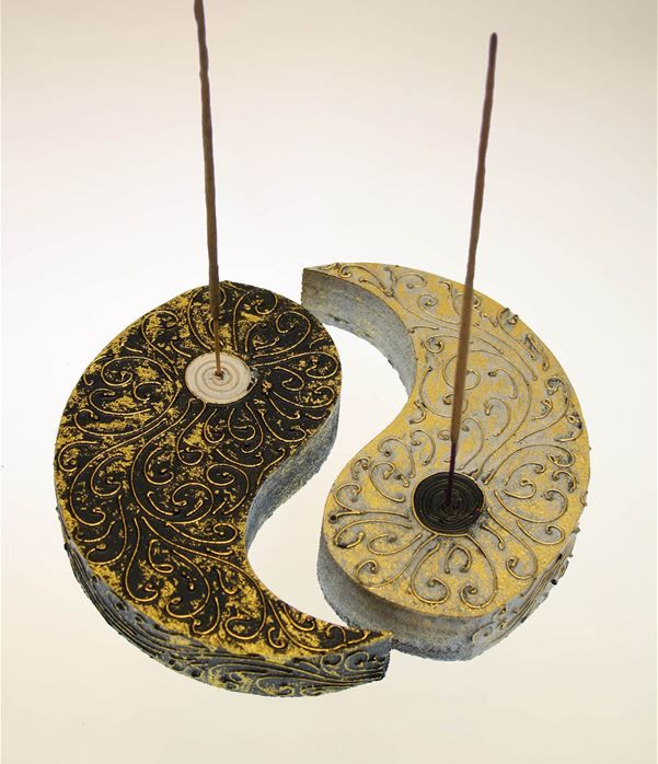 Brucia incenso ying-yang in legno